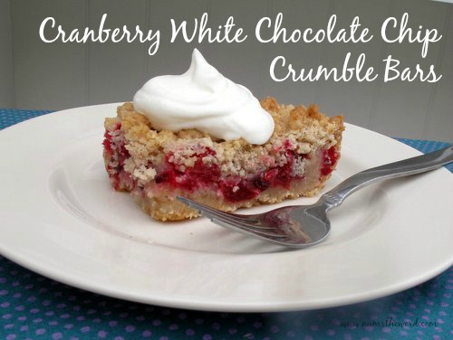 Cranberry White Chocolate Chip Crumble Bars