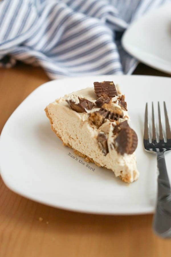 No Bake Peanut Butter Pie - slice of pie on a plate