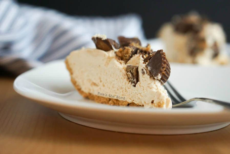 No Bake Peanut Butter Pie - Side view of pie on plate.