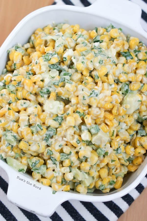 Esquites, Mexican Corn Salad - salad fully made and ready to be eaten.