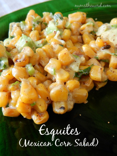 Esquites (Mexican Corn Salad) - Main image for recipes. Corn salad is on a plate, ready to be consumed.