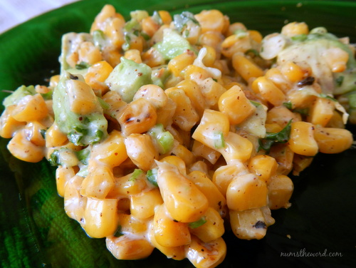 Esquites (Mexican Corn Salad) - Freshly made corn salad on a plate ready to be devoured.