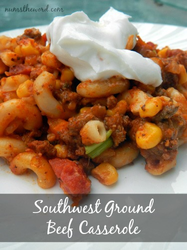 Southwest Ground Beef Casserole topped with sour cream