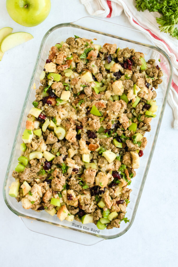 stuffing all mixed together and placed in casserole dish ready to bake