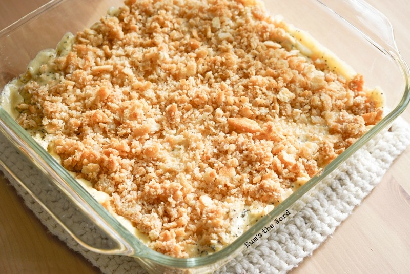 Poppy Seed Chicken Casserole - baked and in pan