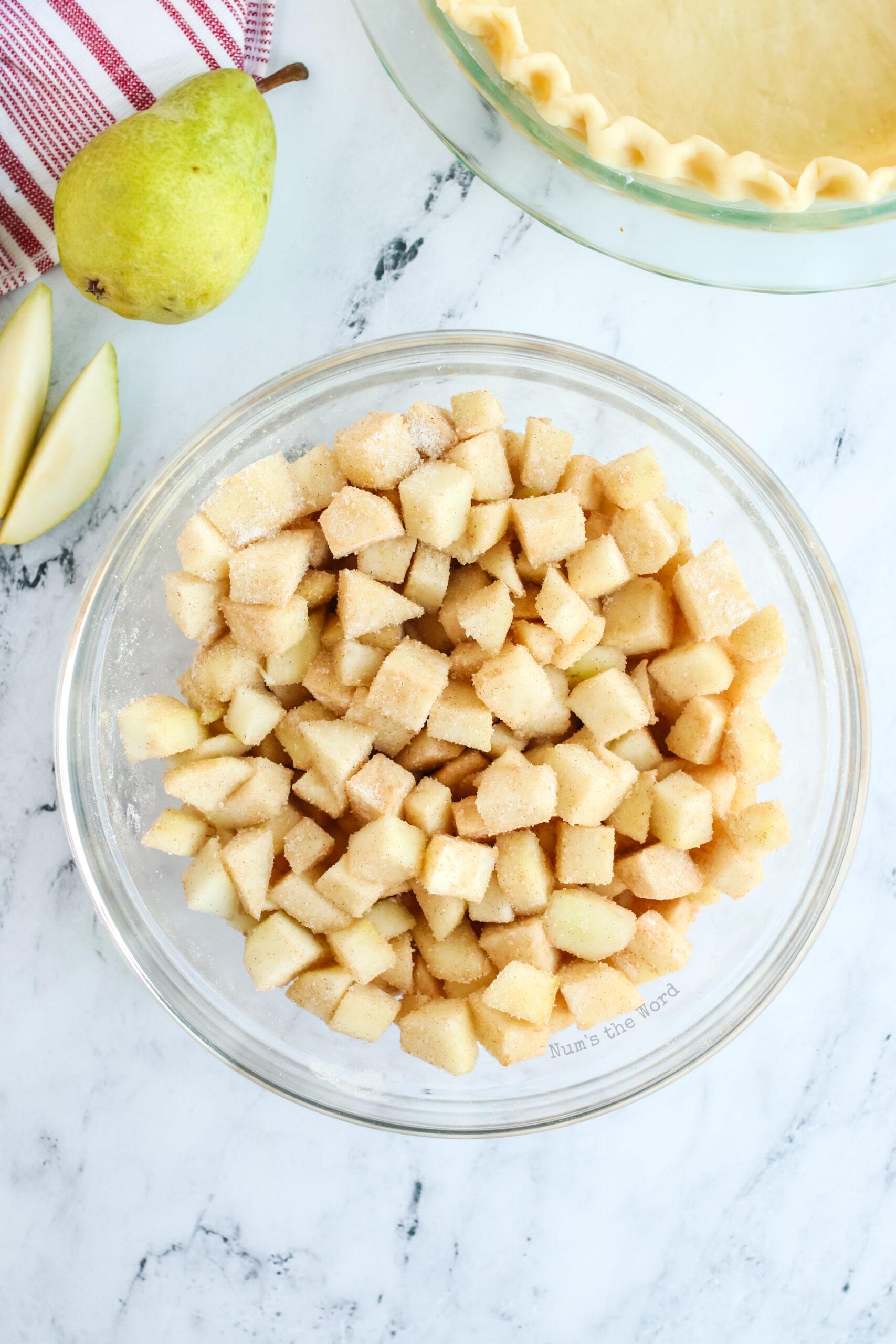 cinnamon mixture stirred into sliced pears