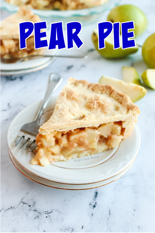 Main image for pear pie recipe of a slice of pie on a plate