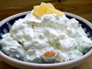 Pistachio Fruit Salad - fluff in a bowl ready to be served.