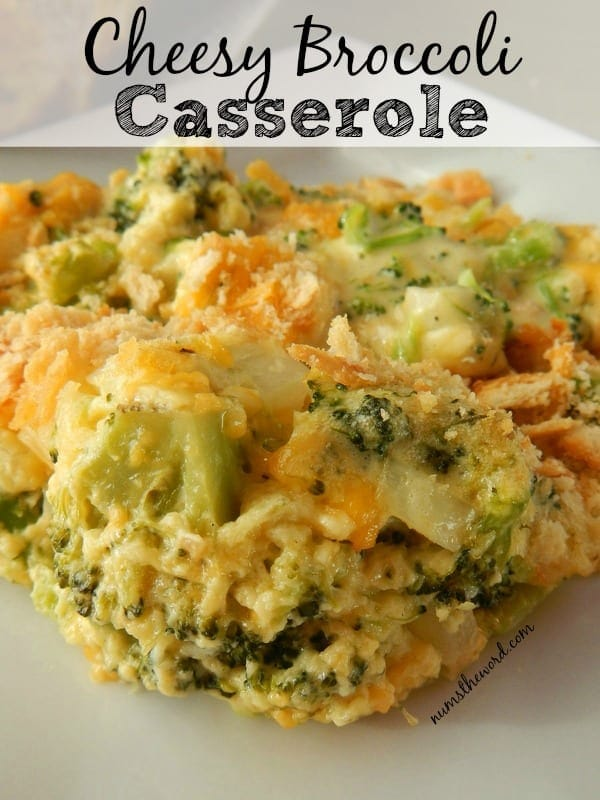 Cheesy Broccoli Casserole - main image for website, close up of casserole on plate