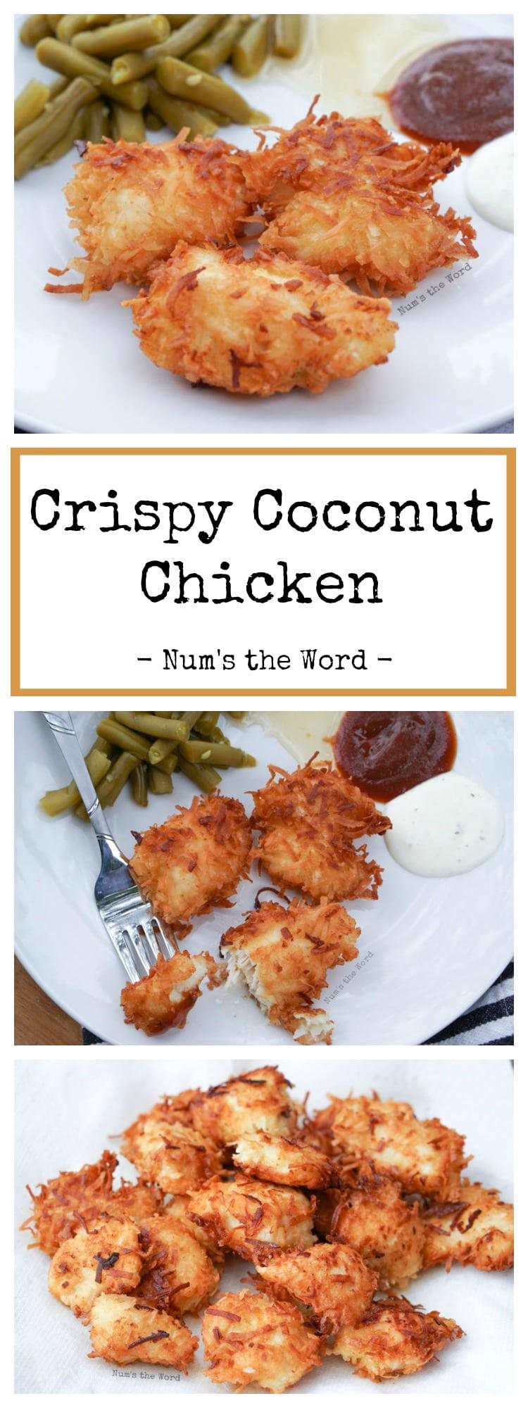 Crispy Coconut Chicken - Pinterest long collage pin