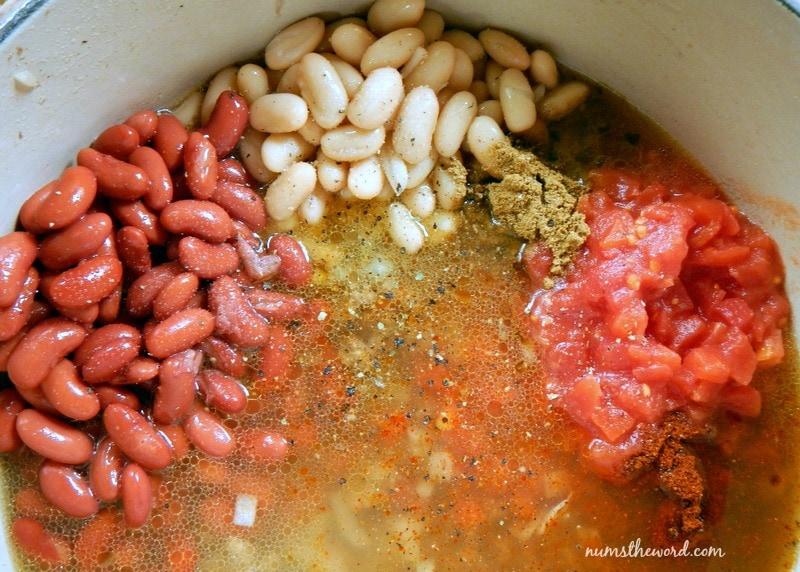 One Pot Chili Mac - broth, tomatoes, seasonings and beans added to pot