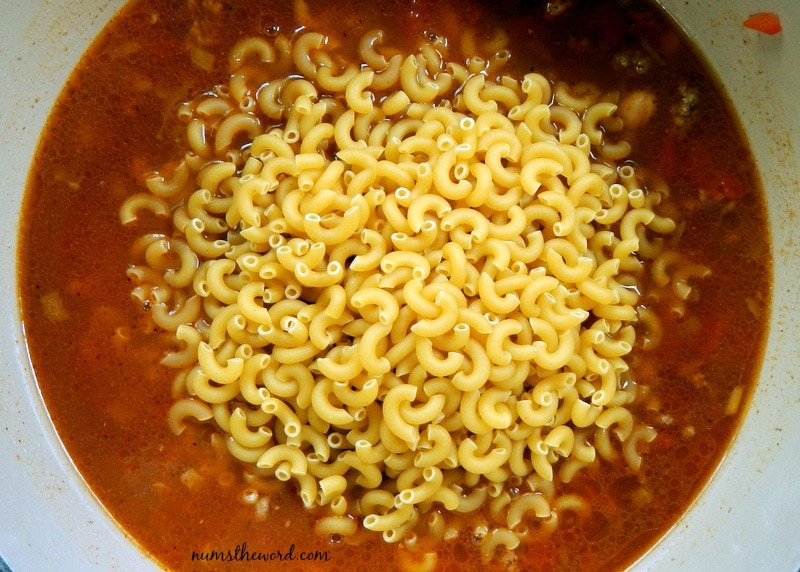 One Pot Chili Mac - noodles added to pot