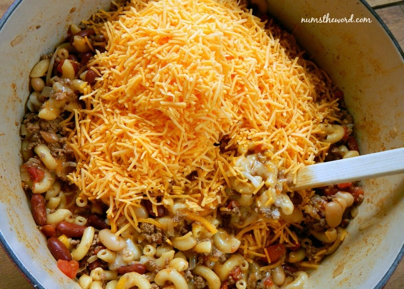 One Pot Chili Mac - cheese added to pot