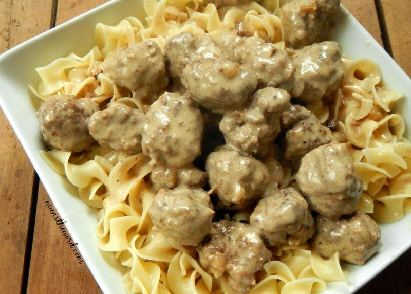 Swedish Meatballs - Meatballs in sauce over egg noodles.