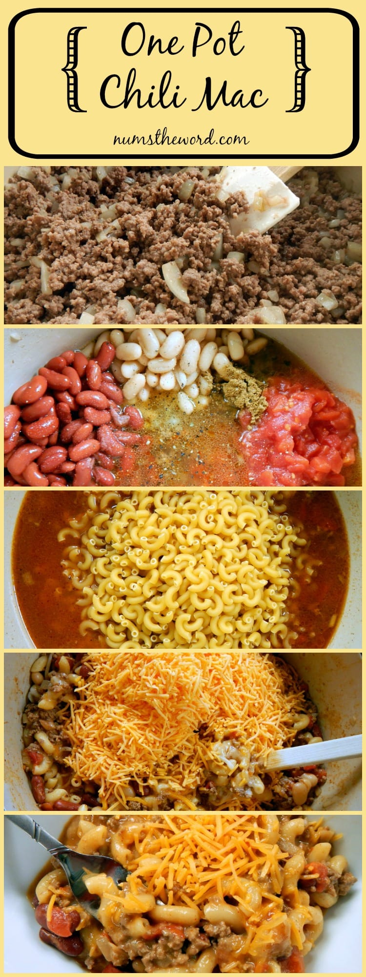 One Pot Chili Mac - pinterest collage of images