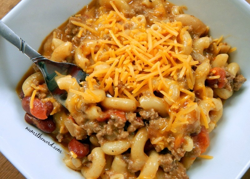 One Pot Chili Mac - Chili Mac in bowl with cheese on top