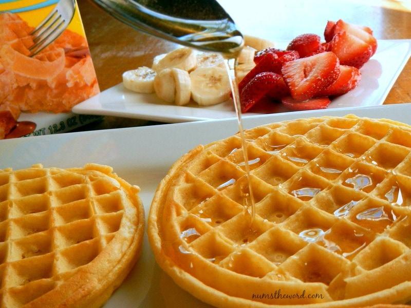Eggo Waffle Fruit Pizza - waffles drizzled with honey