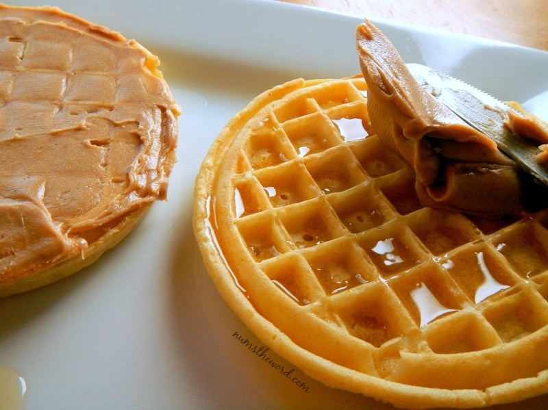 Eggo Waffle Fruit Pizza - waffles drizzled with honey and topped with peanut butter