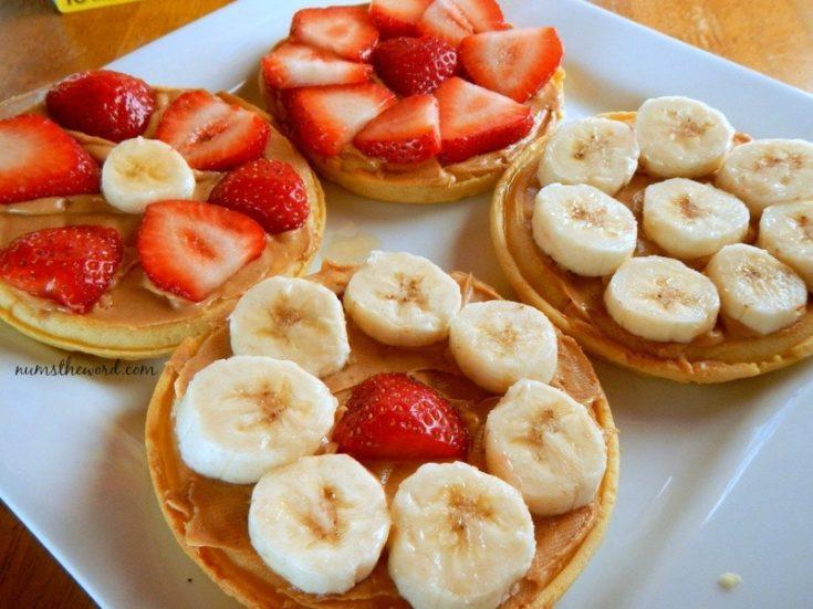 Eggo Waffle Fruit Pizza - waffles topped with fresh fruit - bananas and strawberries