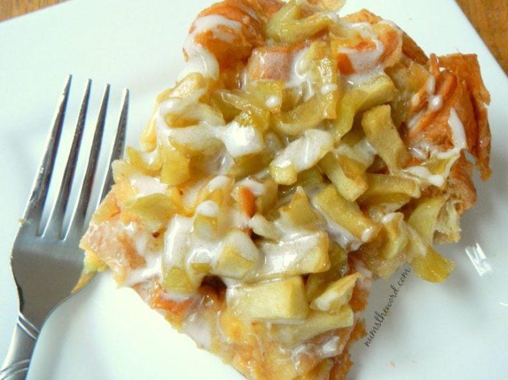 Apple Fritter Breakfast Casserole - baked casserole on plate ready to be eaten