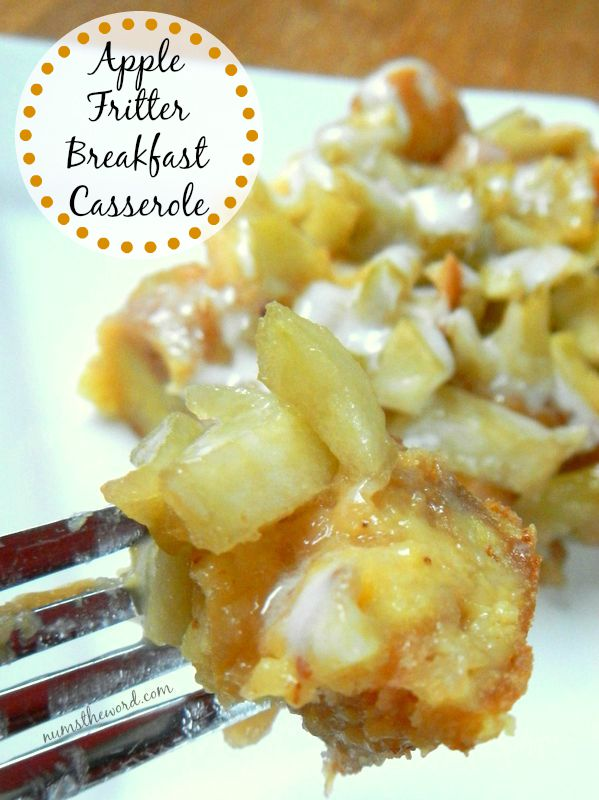 Apple Fritter Breakfast Casserole - Main image for recipe of casserole on plate with a fork full.