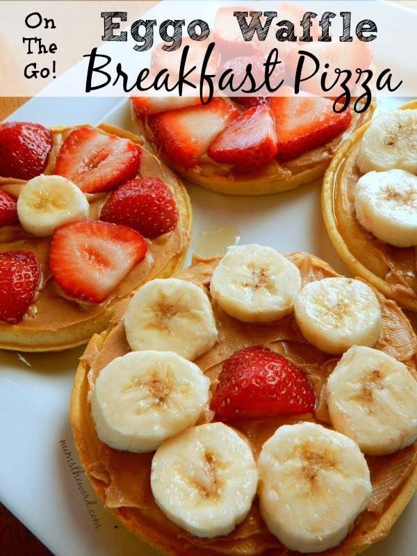 Eggo Waffle Breakfast Pizza - Main image for recipe.  4 Eggo Waffles smeared with honey & peanut butter and topped with fresh fruit.