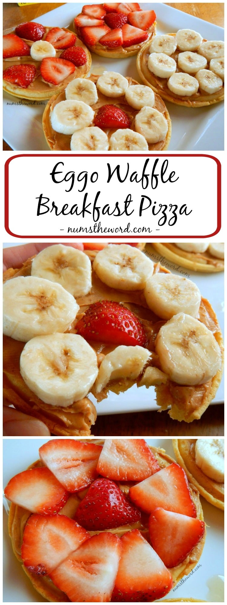 Eggo Waffle Breakfast Pizza - collage of images for pinterest