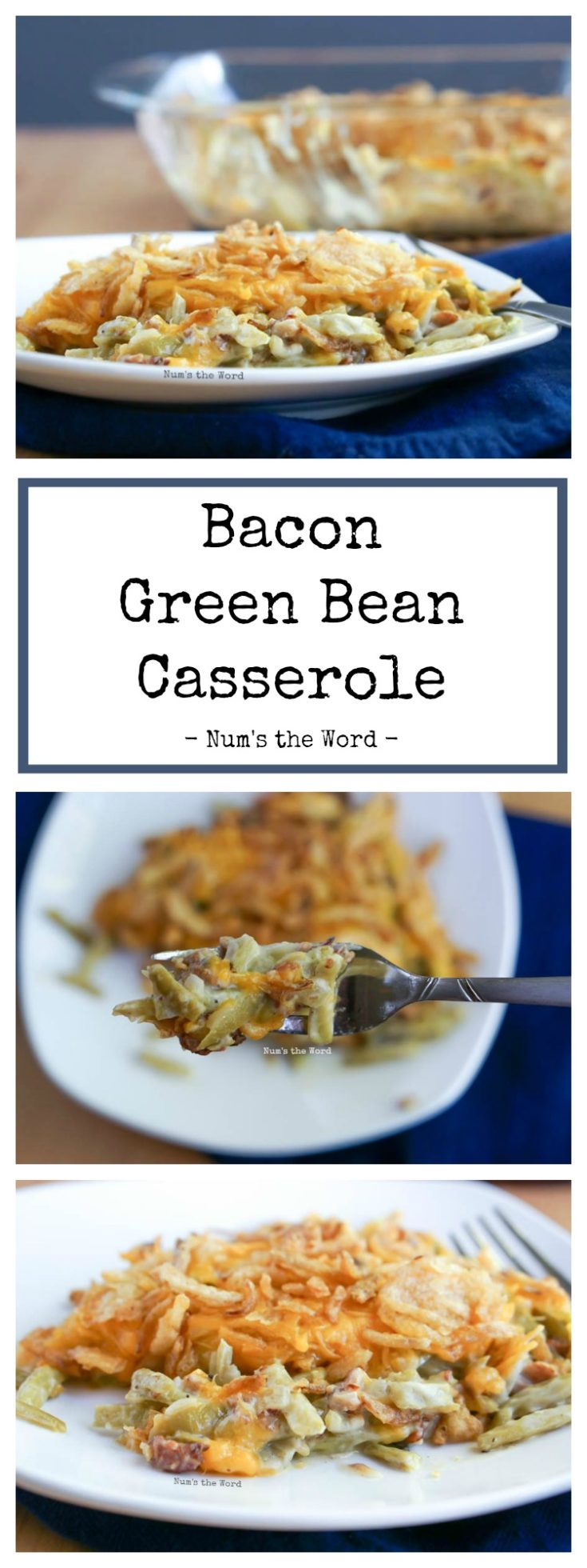 This Bacon Green Bean Casserole is a delicious twist on the classic side dish.  This version is made without mushrooms or a cream soup. Instead it's made with real ingredients making this a must have side dish every year!