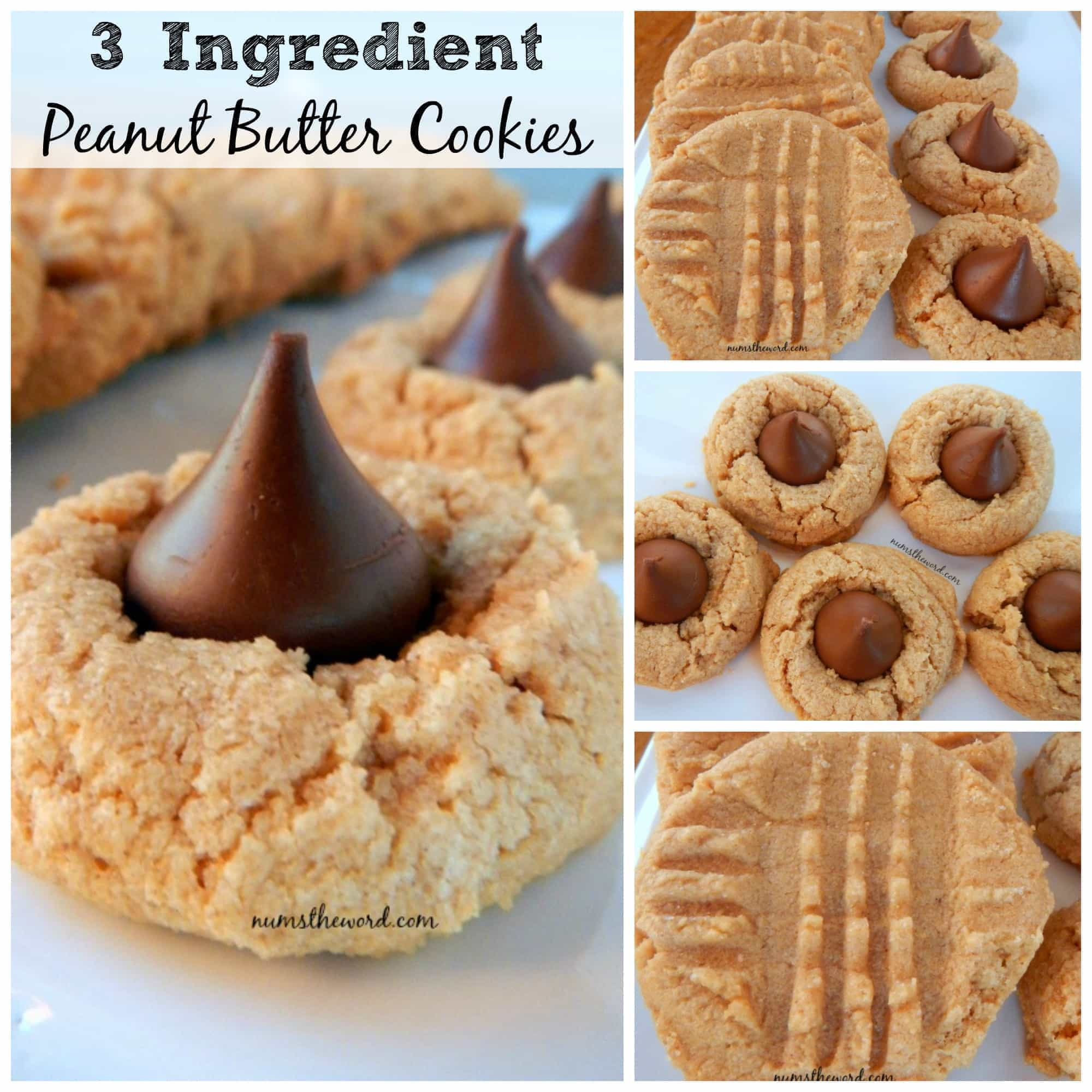 3 Ingredient Peanut Butter Cookies - collage of images for Facebook