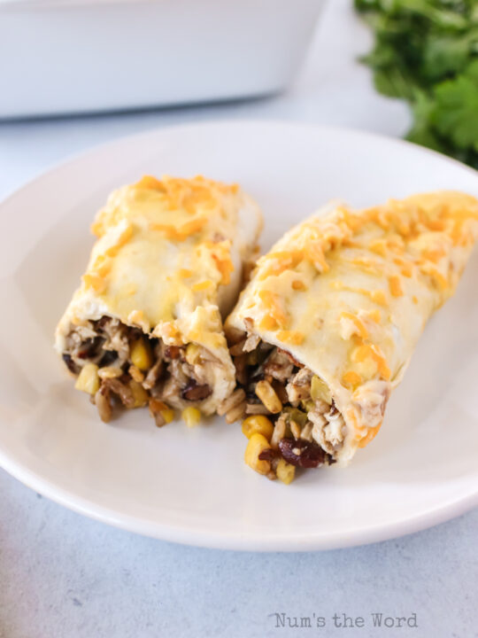 1 enchilada on a plate, cut in half to show filling.