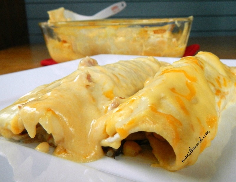 Black Beans & Rice Chicken Enchiladas