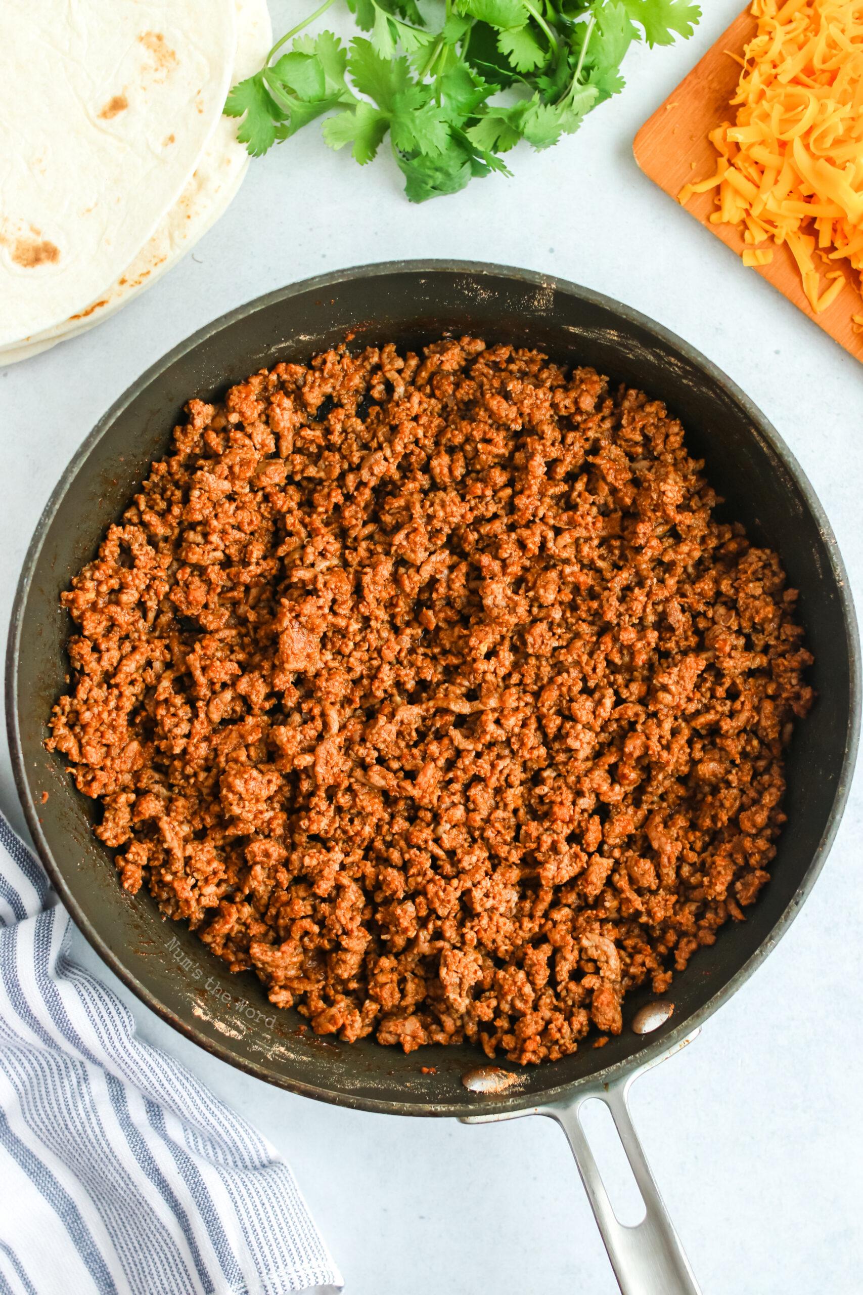ground beef mixture in a skillet.