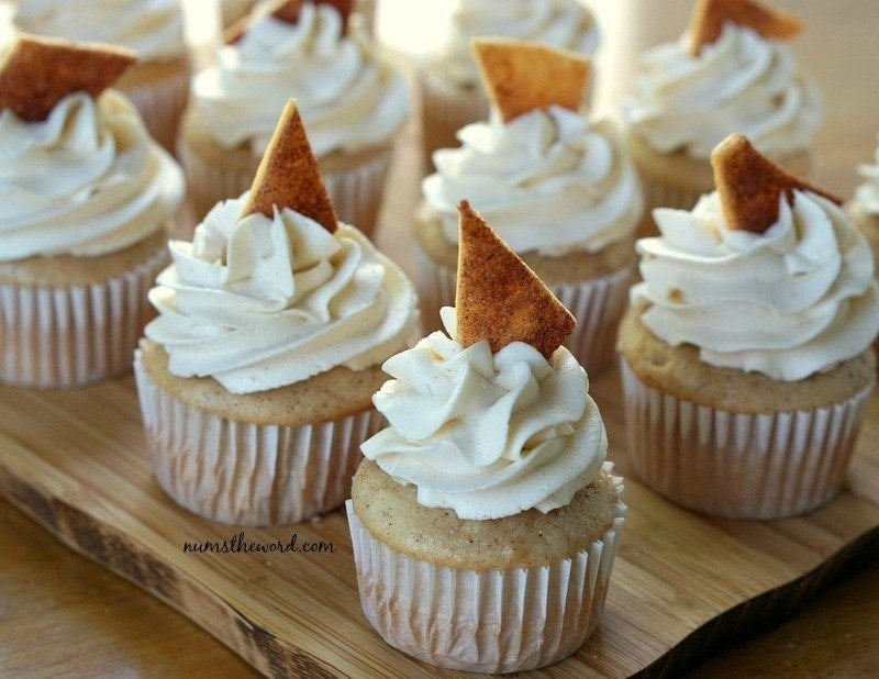Apple Pie Cupcakes - Cupcakes filled, frosted and with pie crust sticking out of frosting