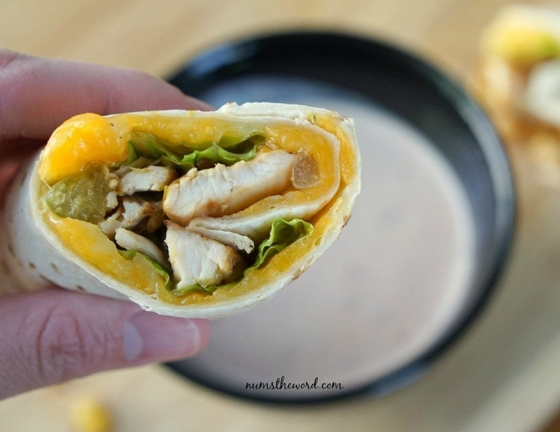 Mexican Chicken Wrap - wrap in hand with dip in the background