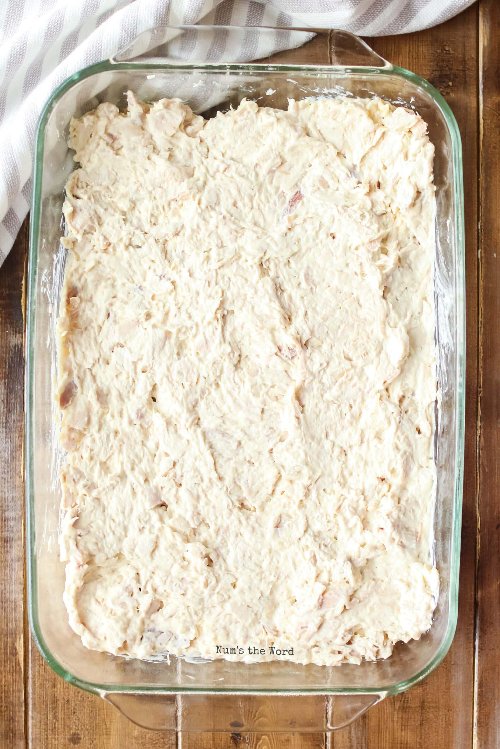 Turkey Casserole - turkey mixture in casserole dish