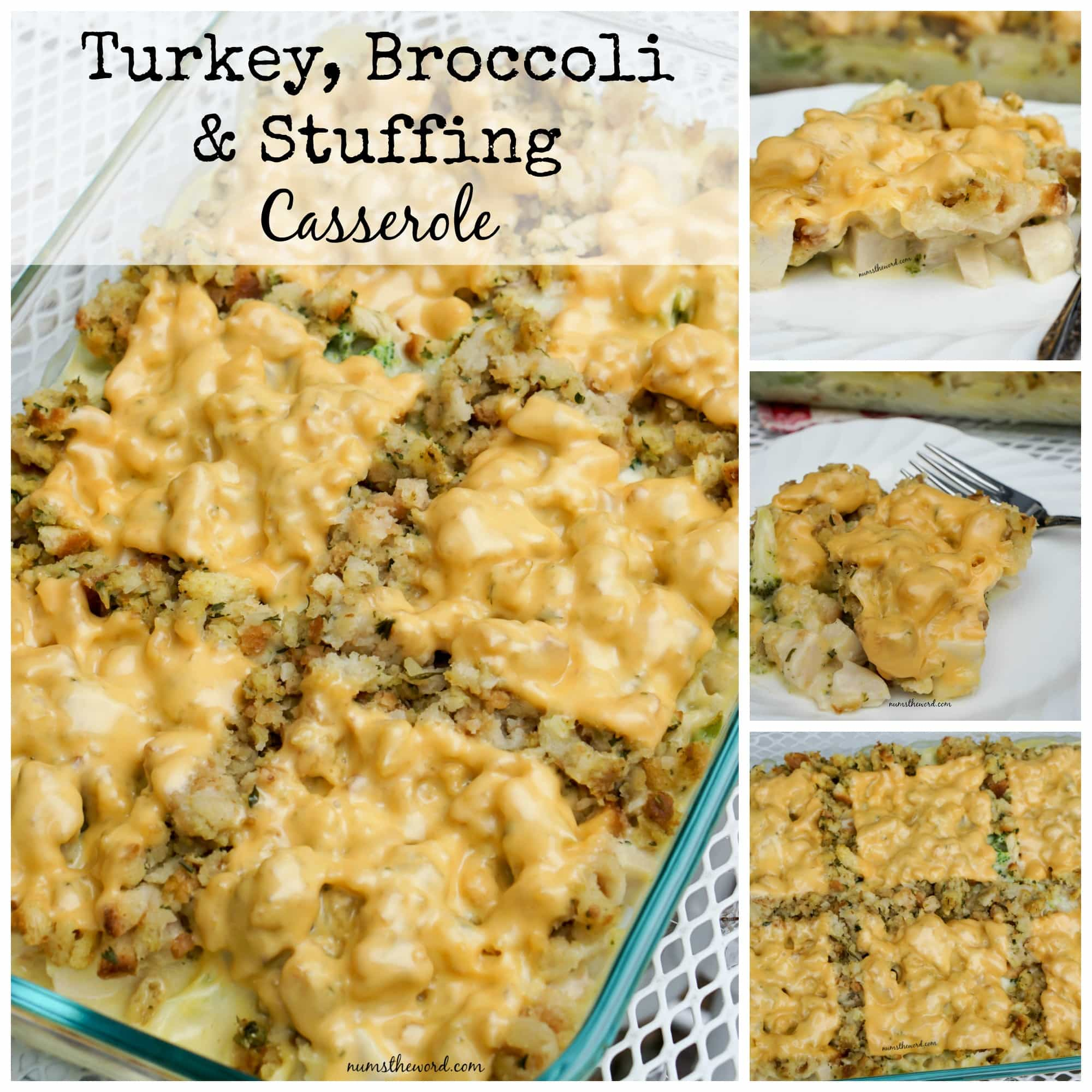 Turkey, Broccoli & Stuffing Casserole - Collage of images for Facebook