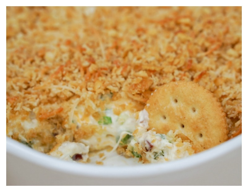 Jalapeno Popper Dip - Cooked dip with cracker in dip