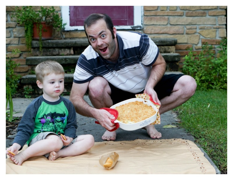 Jalapeno Popper Dip - husband and son showing off dip with goofy faces