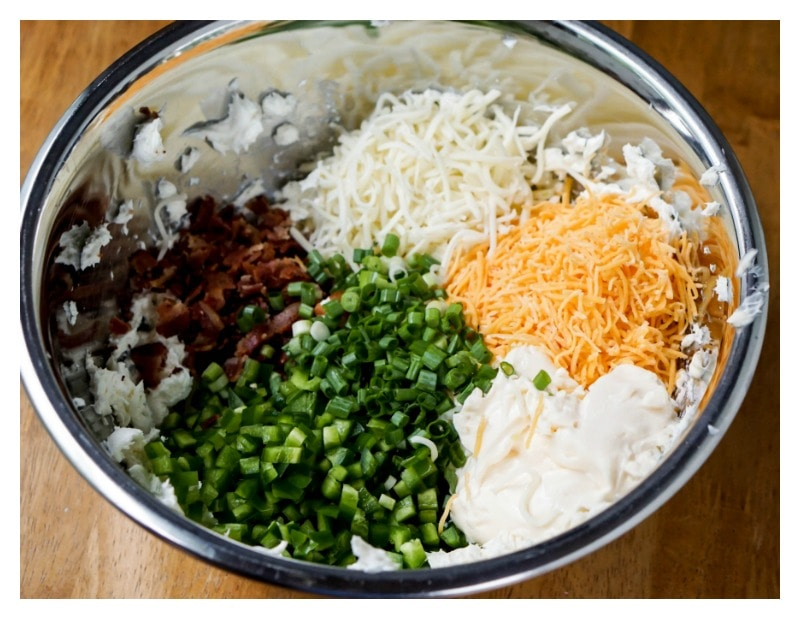 Jalapeno Popper Dip - all ingredients in bowl not mixed together