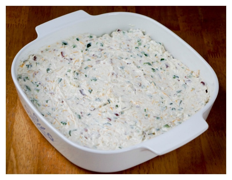 Jalapeno Popper Dip - cream cheese dip in casserole dish