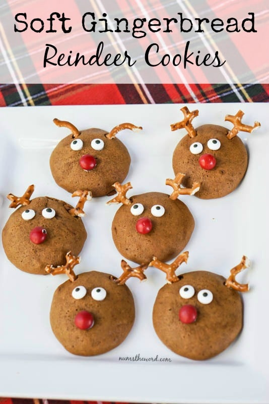 Soft Gingerbread Reindeer Cookies - Main image for recipe of cookies on a platter