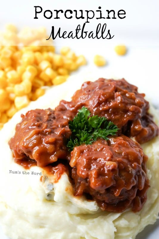 Porcupine Meatballs - Main image for recipe, meatballs on mashed potatoes with corn on side