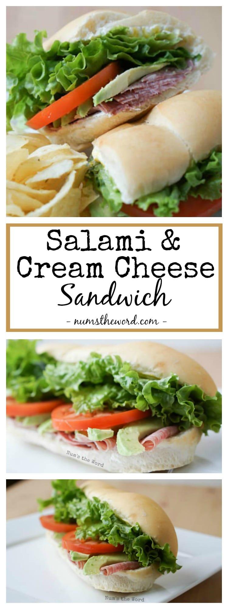Salami & Cream Cheese Sandwich