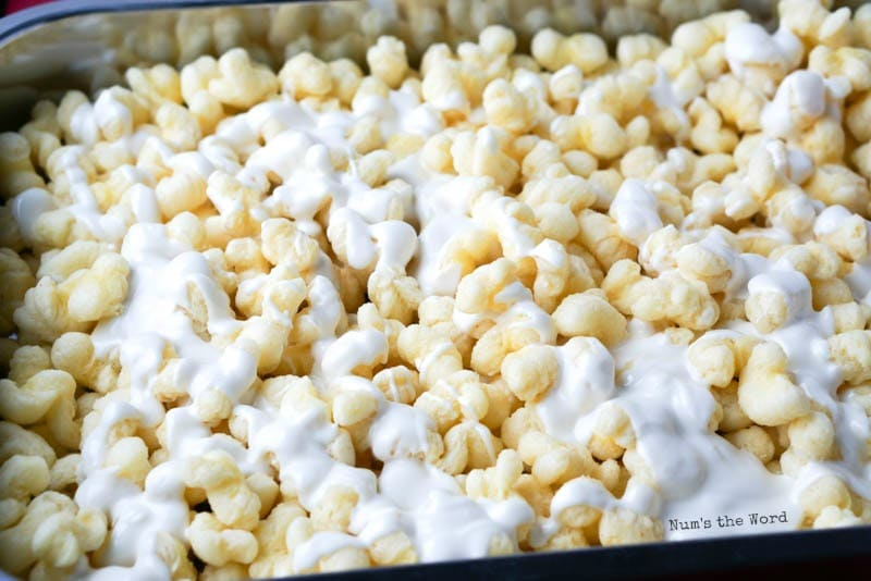 White Chocolate Puffcorn - white chocolate drizzled over puffcorn
