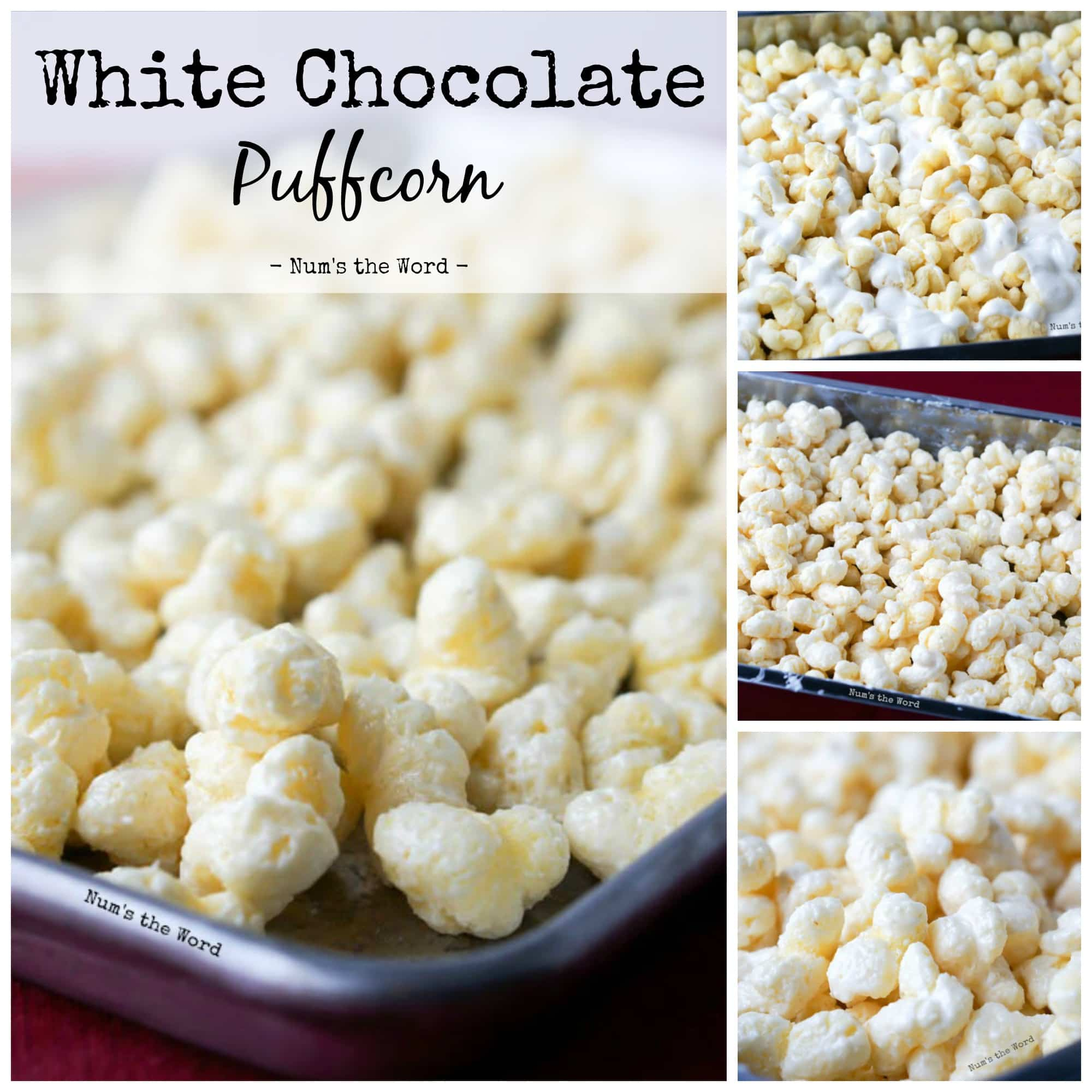 White Chocolate Puffcorn - Collage of images for Facebook