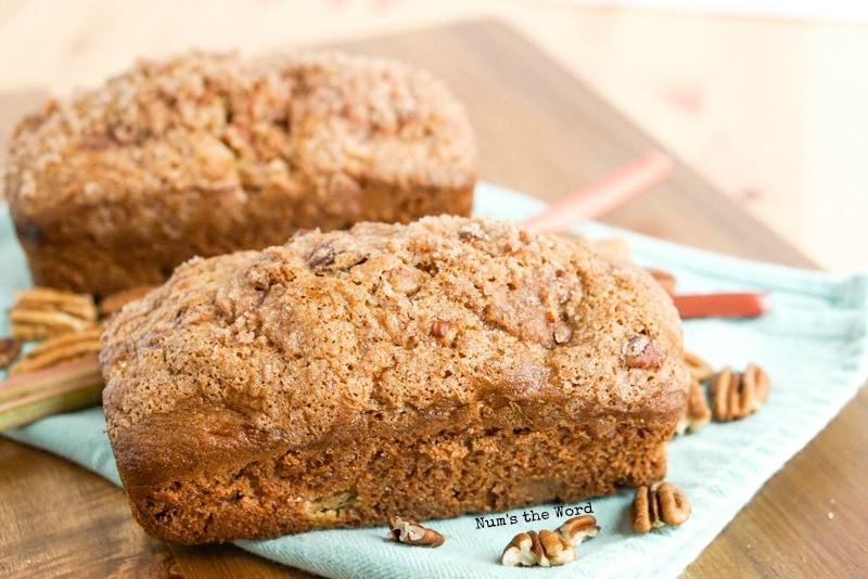 Cinnamon Streusel Rhubarb Bread - side view of 2 loaves