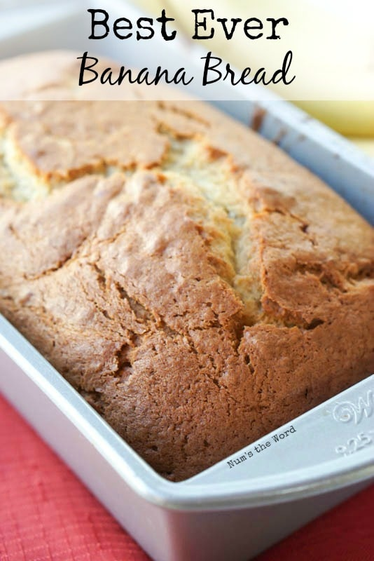 Best Ever Banana Bread - Main image for website of bread in pan at side angle