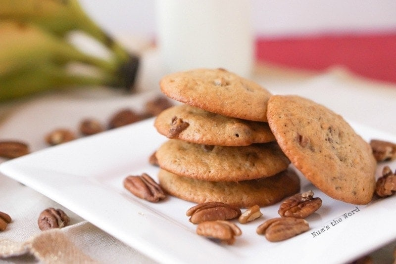Pecan Banana Bread Cookies - stacked on plate with one on side tilted up against stack
