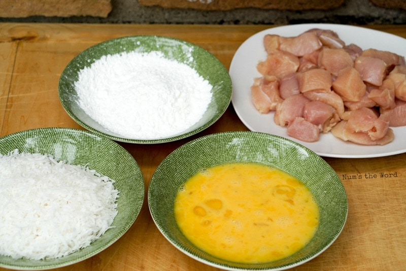 Crispy Coconut Chicken - All ingredients laid out