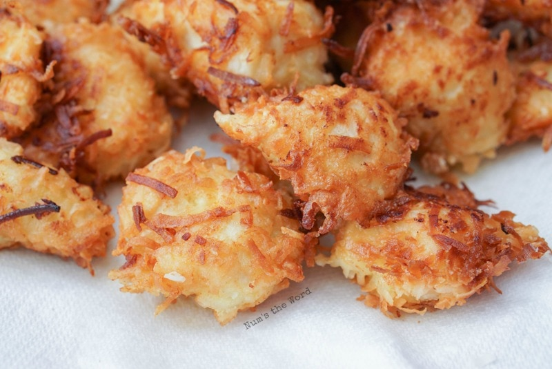 Crispy Coconut Chicken - plate full of cooked coconut chicken